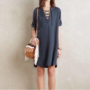 Cloth & Stone Lace Up V Neck Chambray Dress